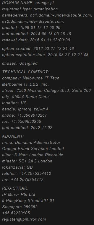 Domain orange niebezpiecznik